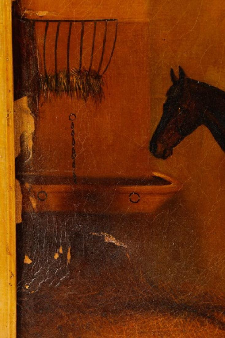 """19th C. English Oil, """"Bay Horse in Stable"""" - 10"""