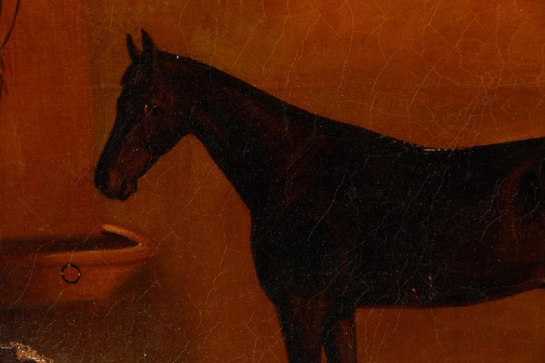 """19th C. English Oil, """"Bay Horse in Stable"""" - 11"""