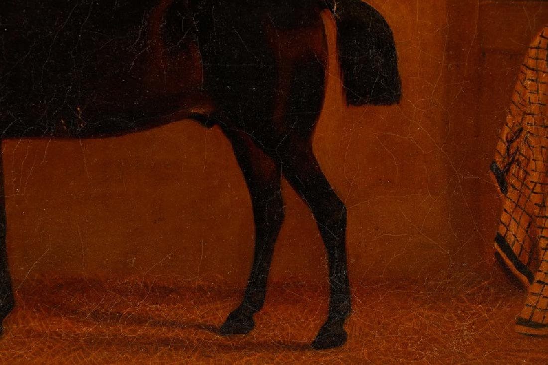 """19th C. English Oil, """"Bay Horse in Stable"""" - 12"""
