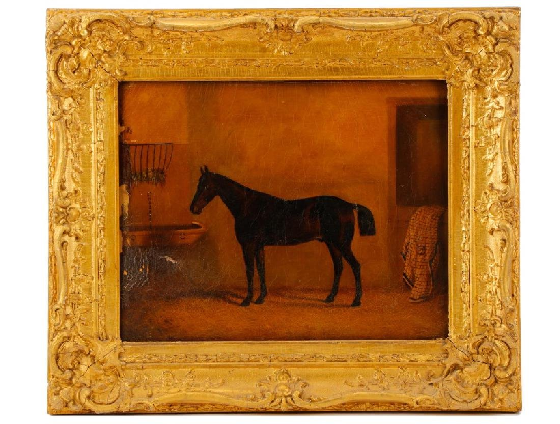 """19th C. English Oil, """"Bay Horse in Stable"""""""