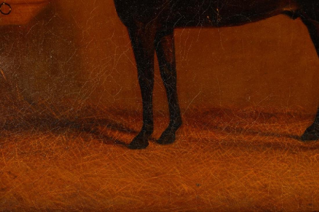 """19th C. English Oil, """"Bay Horse in Stable"""" - 3"""