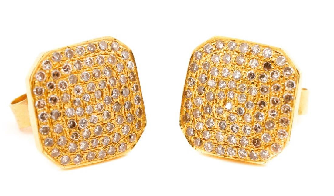 Pair, Cushion Shape Cluster Gold & Diamond Studs