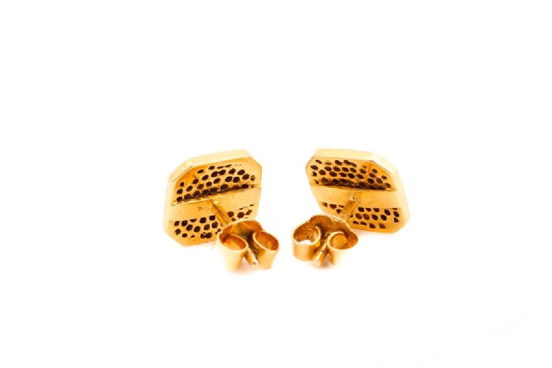 Pair, Cushion Shape Cluster Gold & Diamond Studs - 2