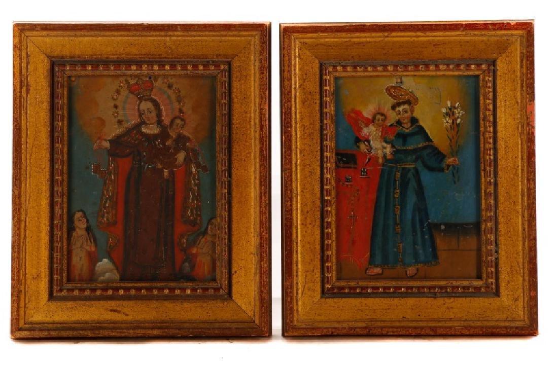 Pair of Spanish Colonial Retablos on Tin, Framed