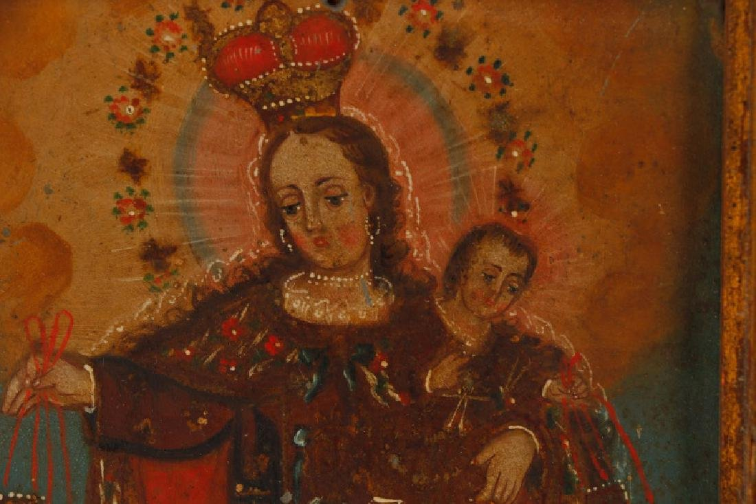 Pair of Spanish Colonial Retablos on Tin, Framed - 3