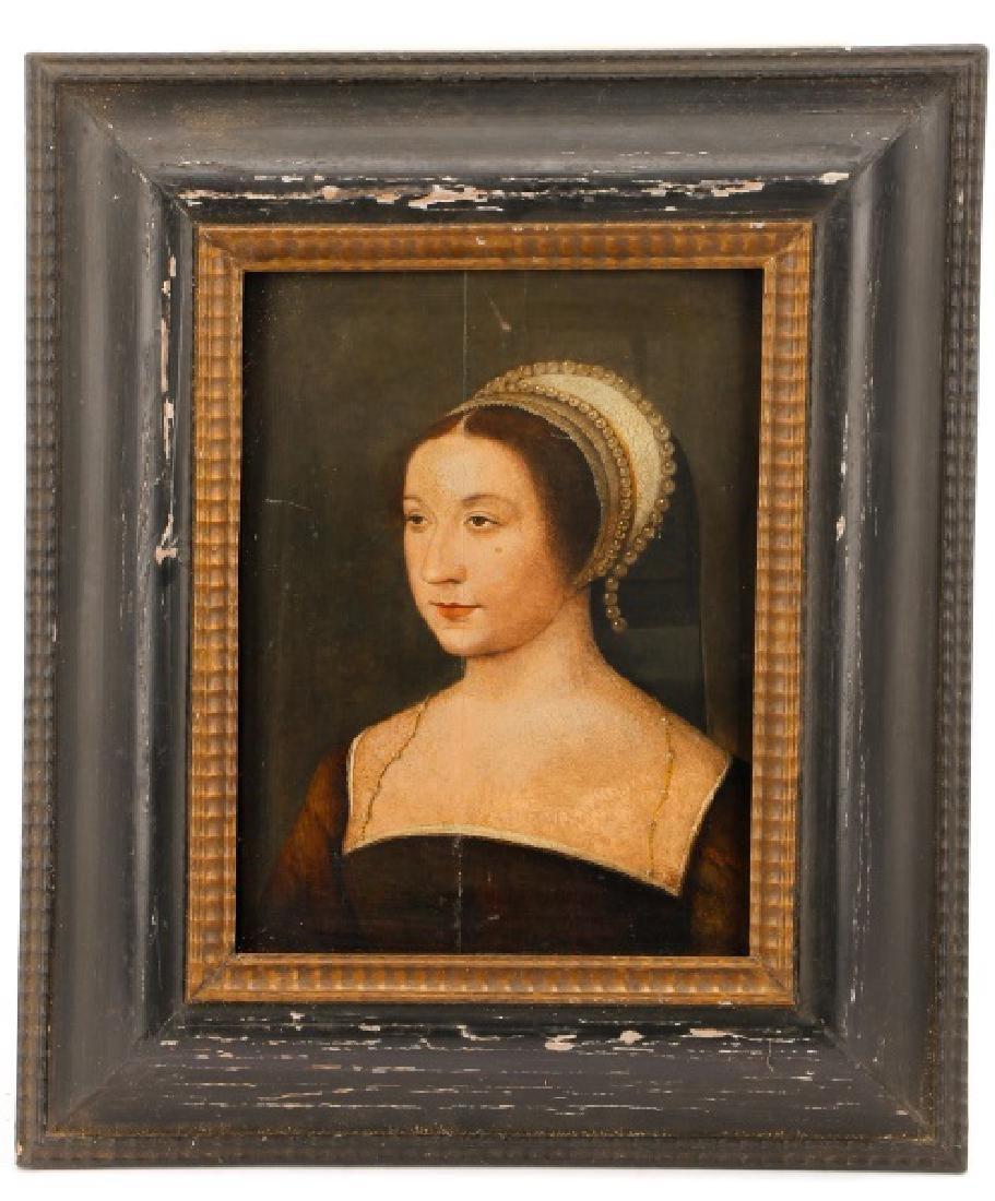 """English School, """"Tudor Woman in a French Hood"""""""