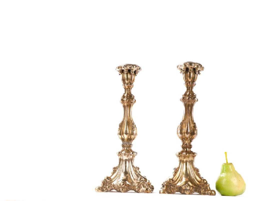 Pair of Continental .800 Repousse Candlesticks - 2