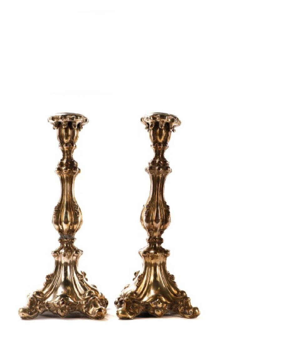 Pair of Continental .800 Repousse Candlesticks - 3