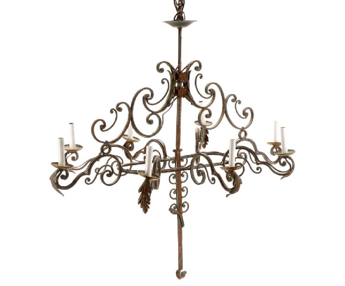 French Provincial Style 8 Light Iron Chandelier