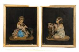 Pair of Victorian Chromolithographs of Children