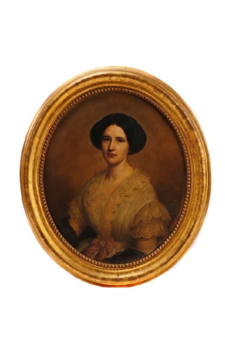 "American School, ""Portrait of a Woman"", O/C"