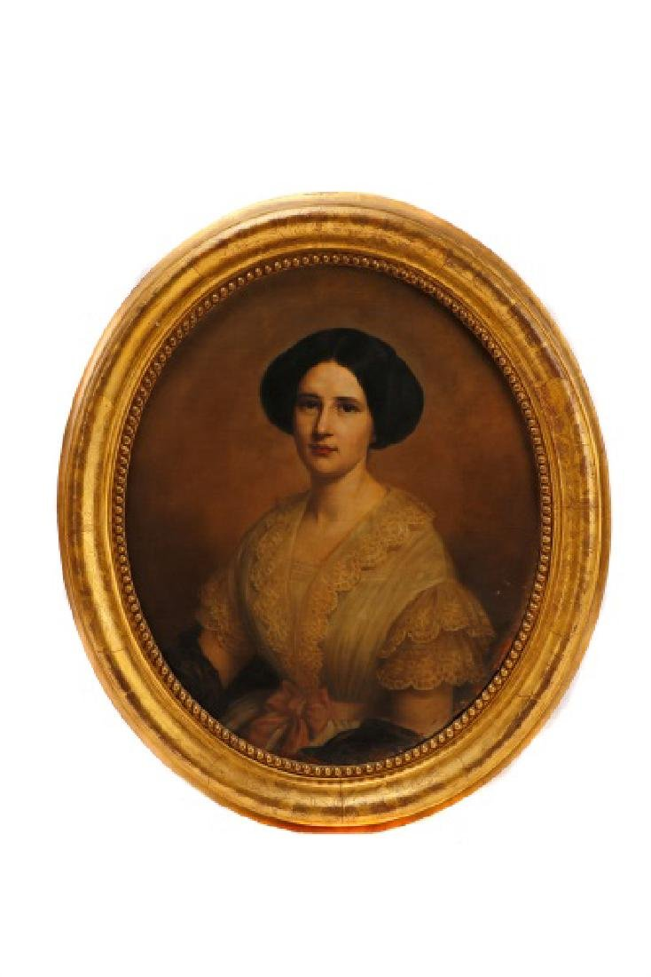 "American School, ""Portrait of a Woman"", O/C"