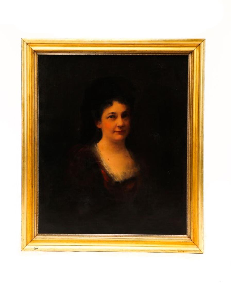 """Continental, """"Portrait of a Woman in Red"""", O/C"""