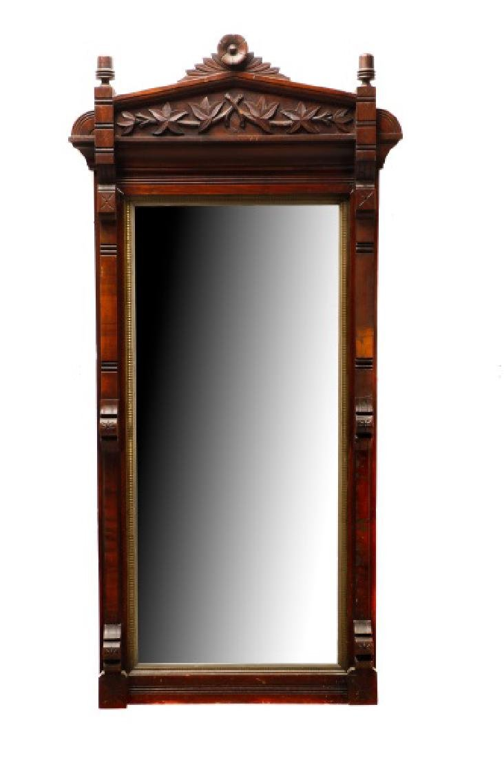 Stained Walnut Eastlake Style Mirror