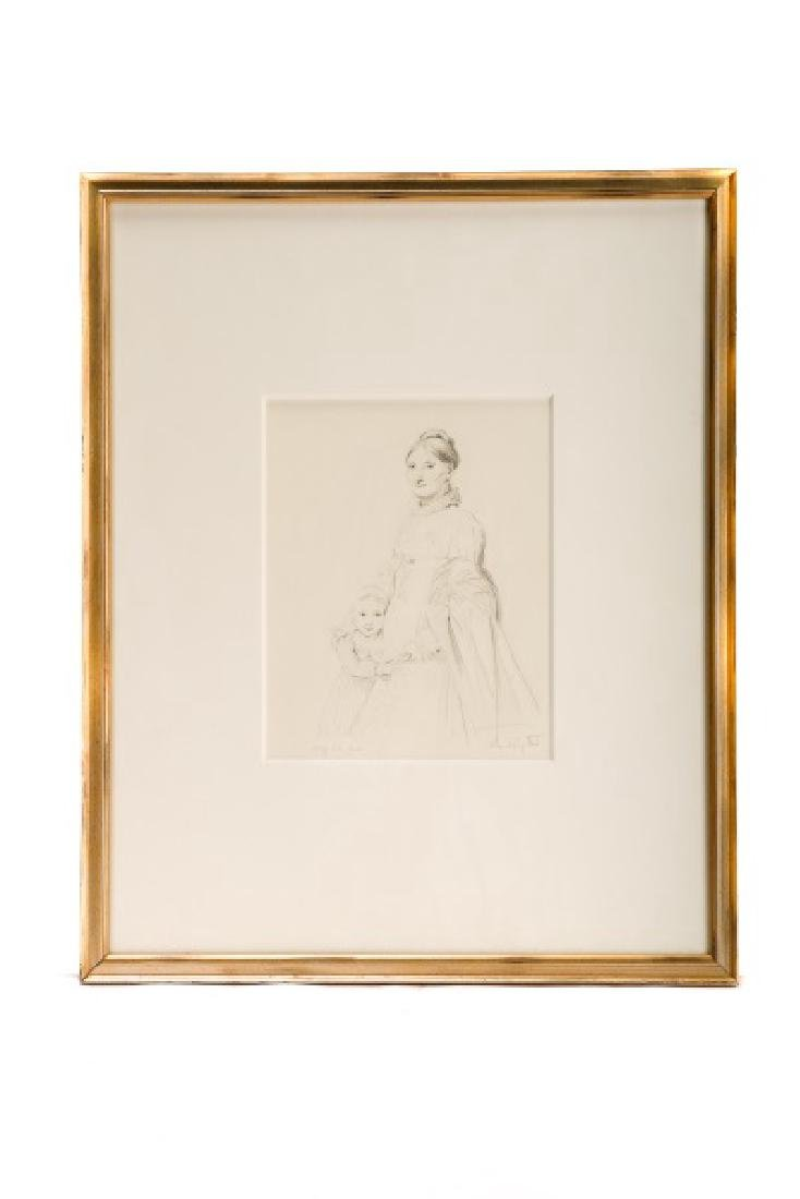 """Rose Hafley, """"Study from Ingres"""", Signed Drawing"""