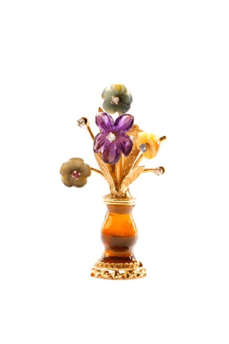 1940s 14k Gold Flower Vase Pin with Precious Gems