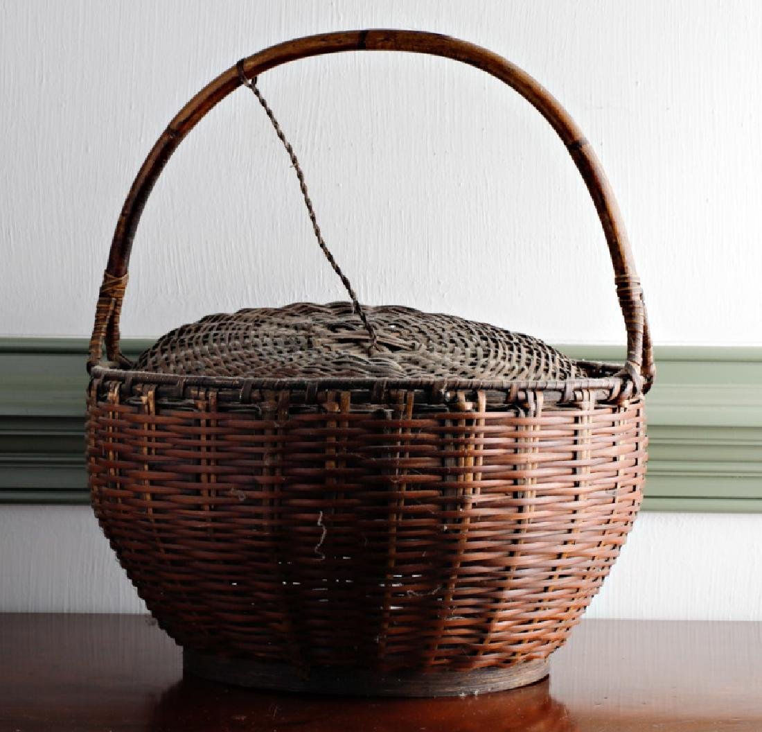 American Hand Woven Basket with Attached Lid