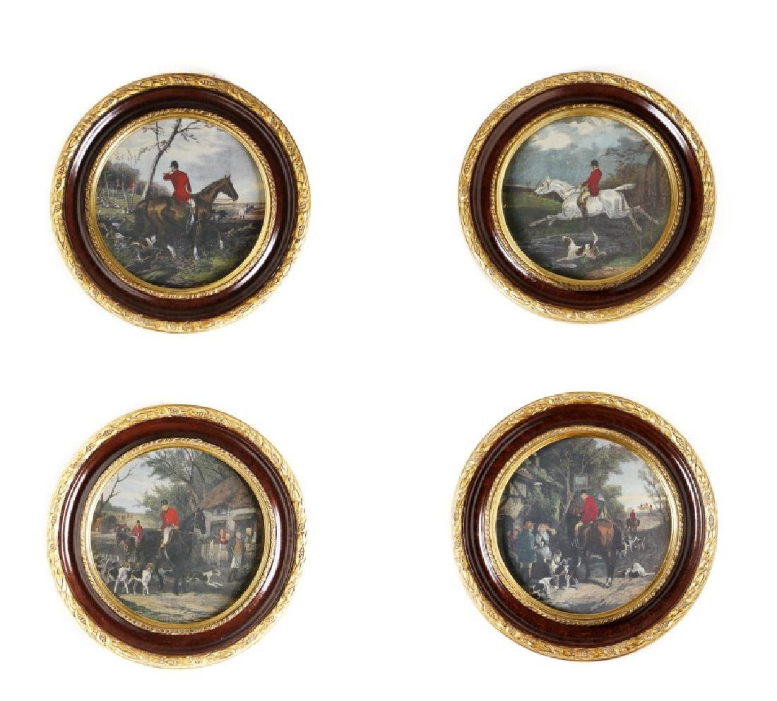Group of 4 Hunt Scenes Lithographs in Frames
