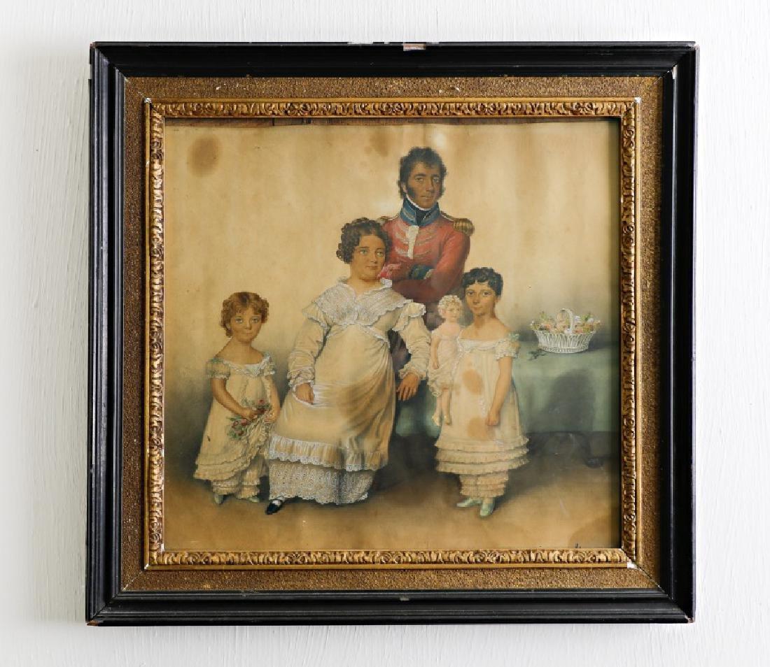English School Family Portrait Watercolor, 19th C.