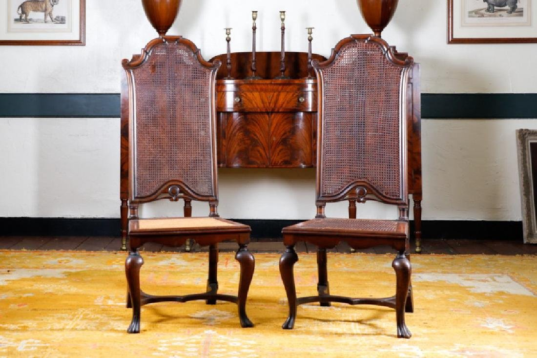 Pair, English George I Caned Side Chairs, 19th C.