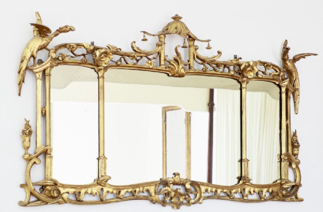 English Chinese Chippendale Style Giltwood Mirror