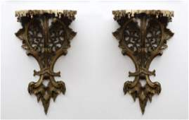 Pair 19th C Chippendale Style Gilt Wall Brackets