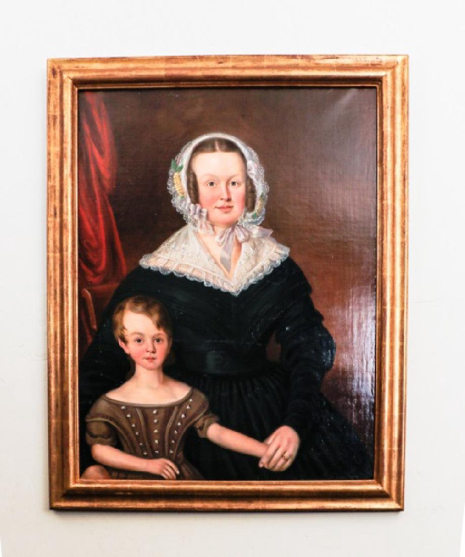 Portrait of Mother & Child, 19th C. Oil on Canvas