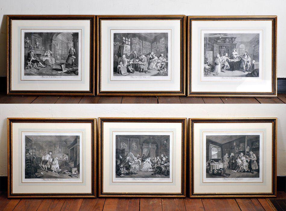 Group, 6 Hogarth Engravings, Marriage A-la Mode