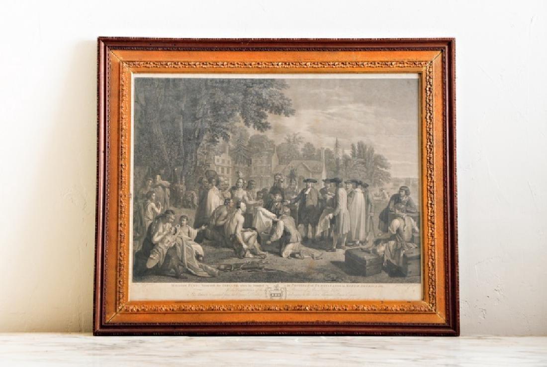 "John Hall ""William Penn's Treaty"" Engraving 18th C"
