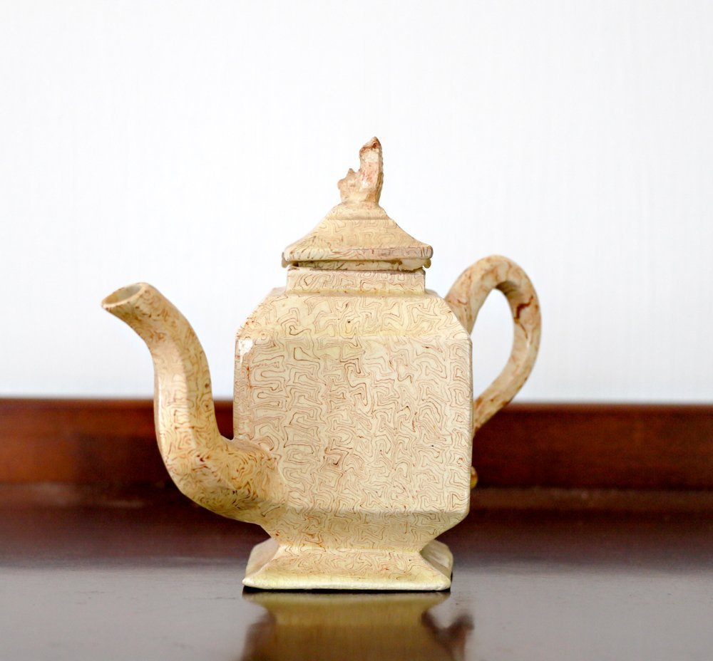 English Marbled Agateware Teapot