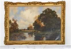 "John Noble Barlow, ""Shore Surrey"" Signed 1906 Oil"