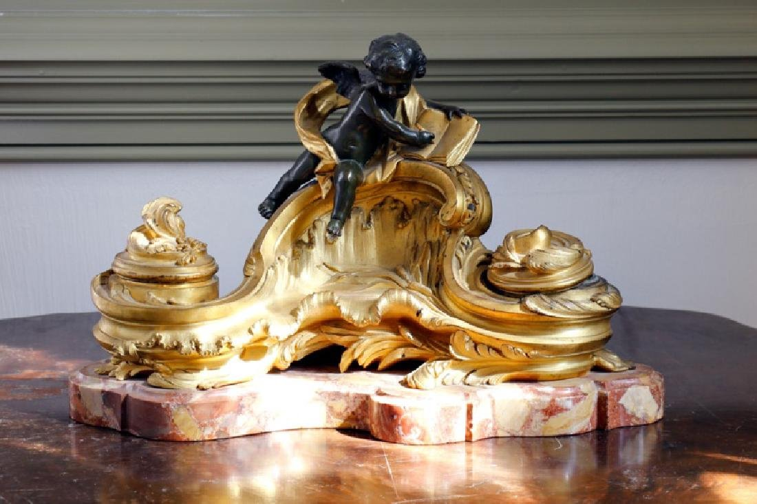French Napoleon III Gilt Bronze Ink Well, 19th Century