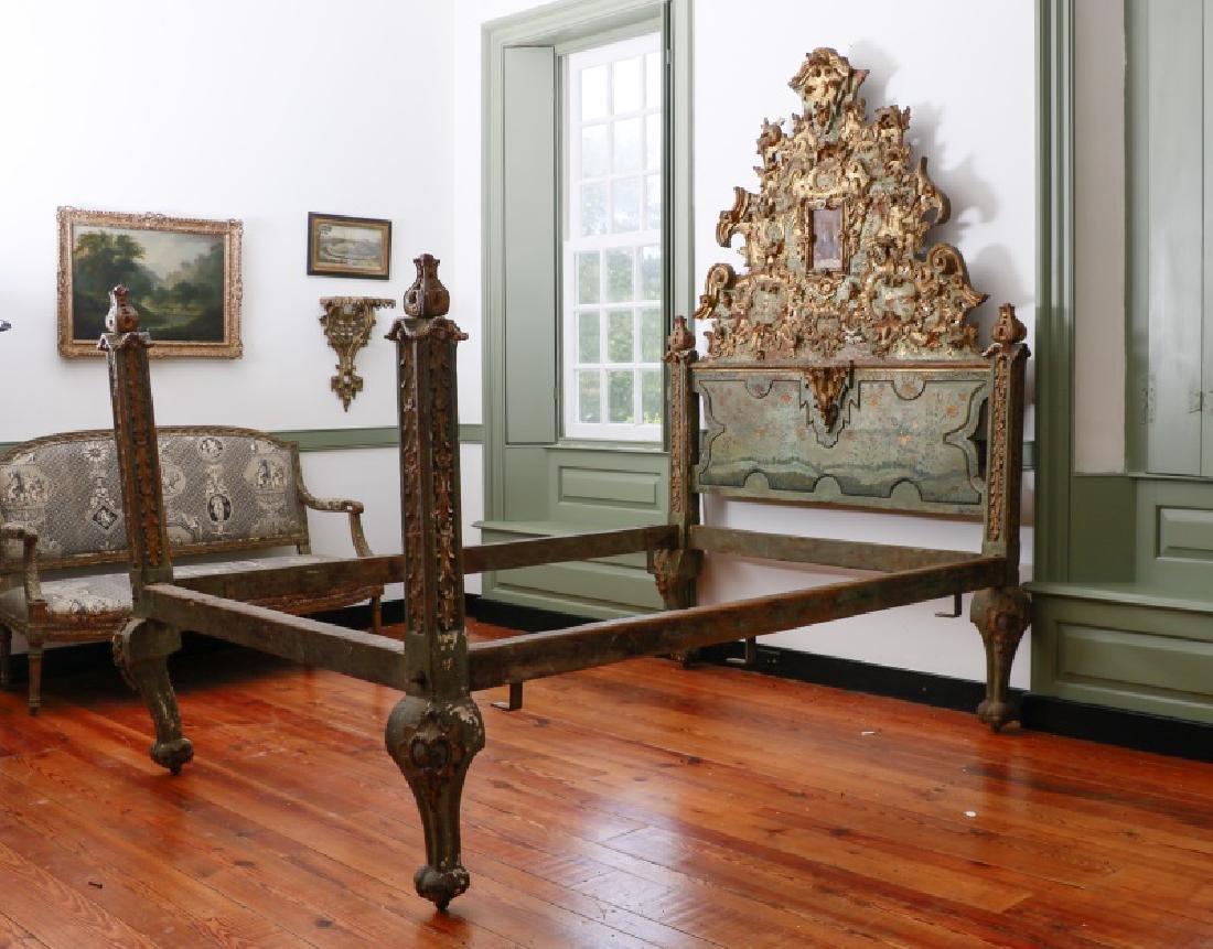 Venetian Rococo Style Ornate Gilt Bed Frame