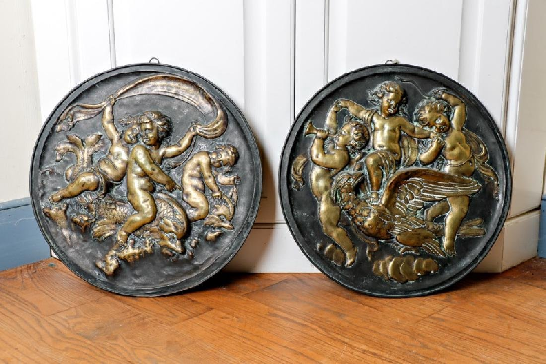 Pair Continental Rococo Style Brass Roundel Plates