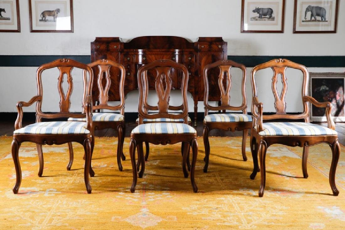 Set of 6 French Style Upholstered Dining Chairs