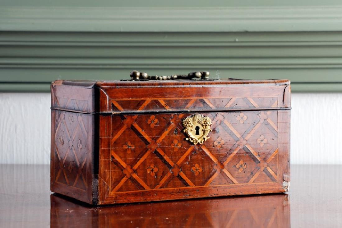 French Marquetry Inlaid Tea Caddy, 19th/20th C.
