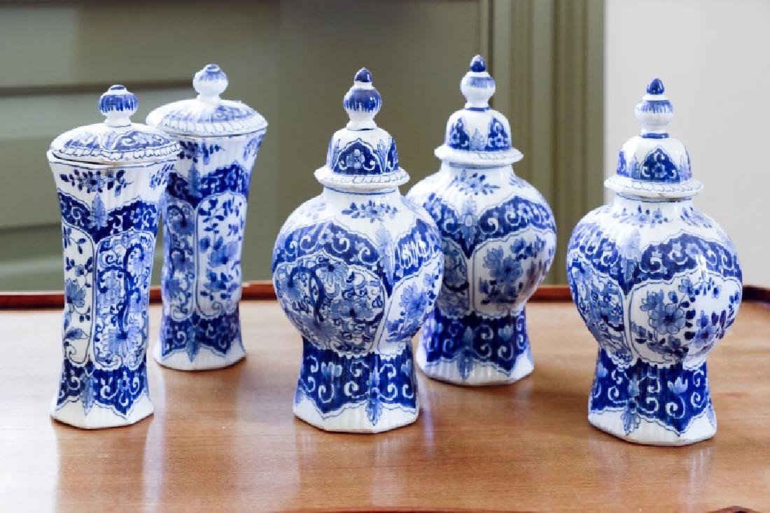 5 Piece Delft Porcelain Garniture Set