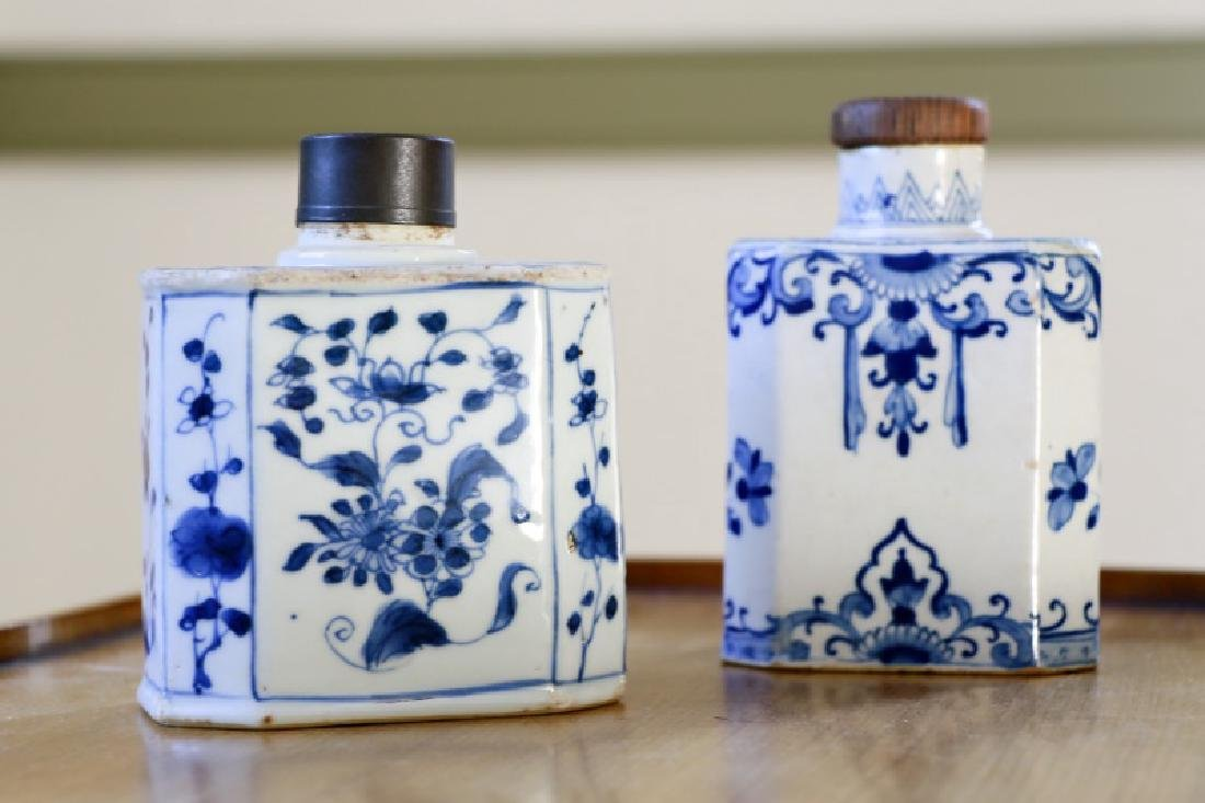 2 Delftware Blue Onion Octagonal Porcelain Flasks