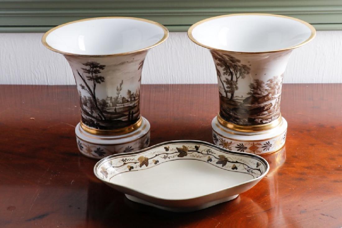 Group, Pair Paris Porcelain Cache Pots with Dish