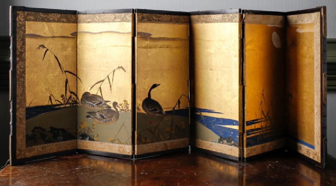 Japanese Gilded Landscape Motif Silk Table Screen