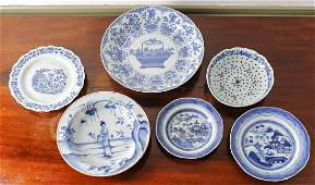 Group of 6 Blue & White Chinese Porcelain Bowls