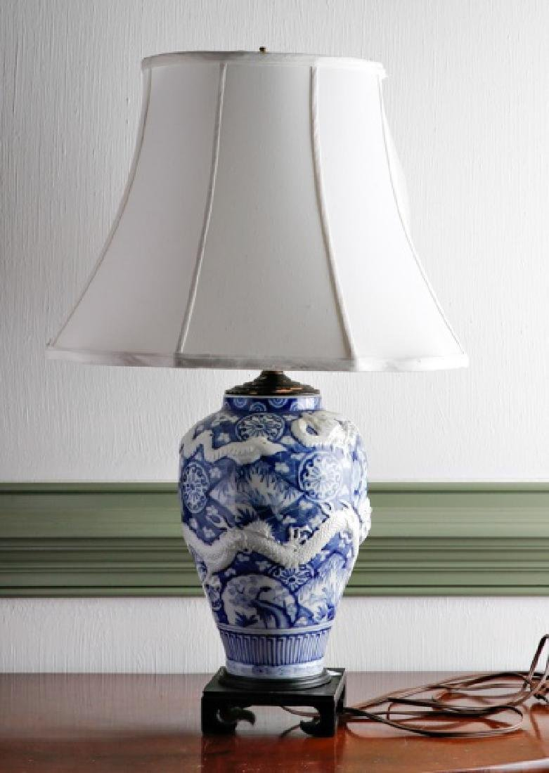 Chinese Blue & White Porcelain Dragon Table Lamp