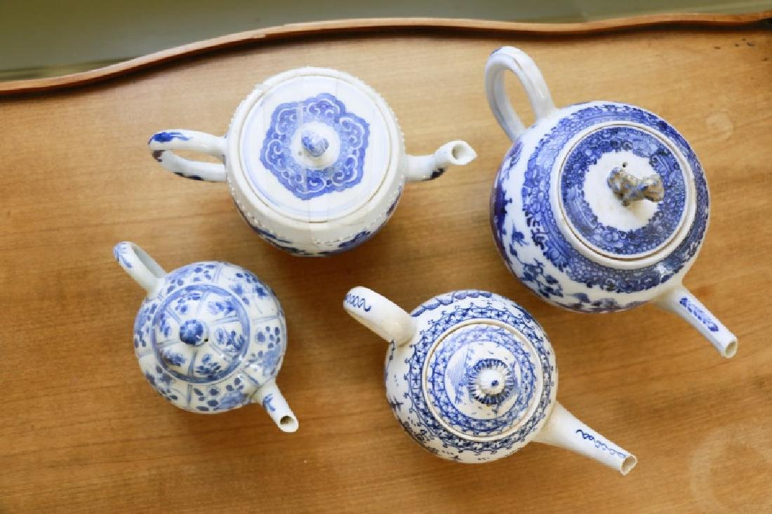 Group of 4 Blue & White Chinese Teapots