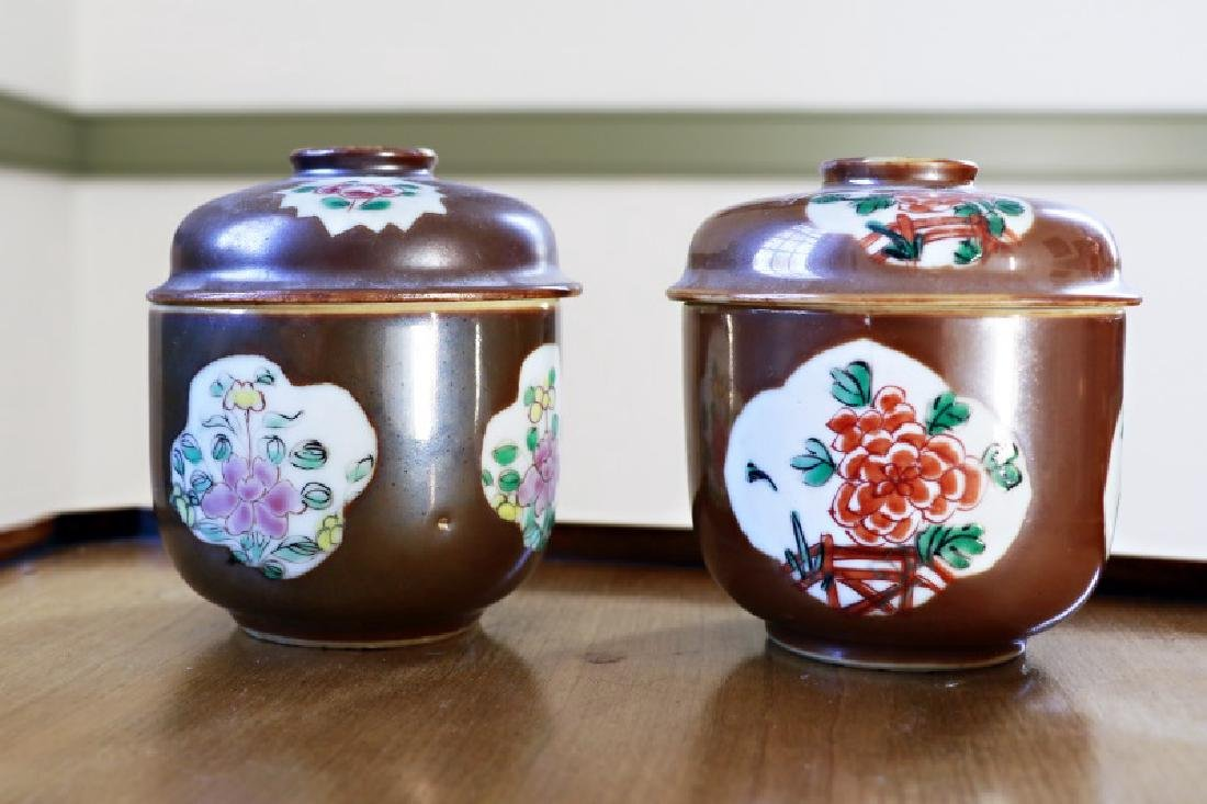 Pair, Chinese Cafe au Lait Covered Potiche Jars