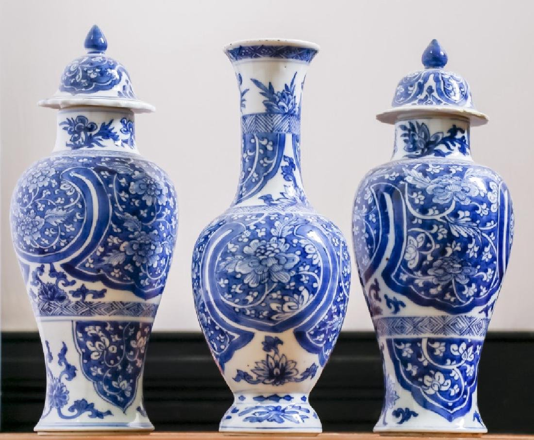 Chinese 3 Piece Blue & White Garniture Set