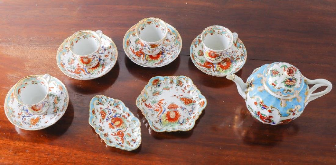 11 Piece French Enameled & Gilt Porcelain Tea Set