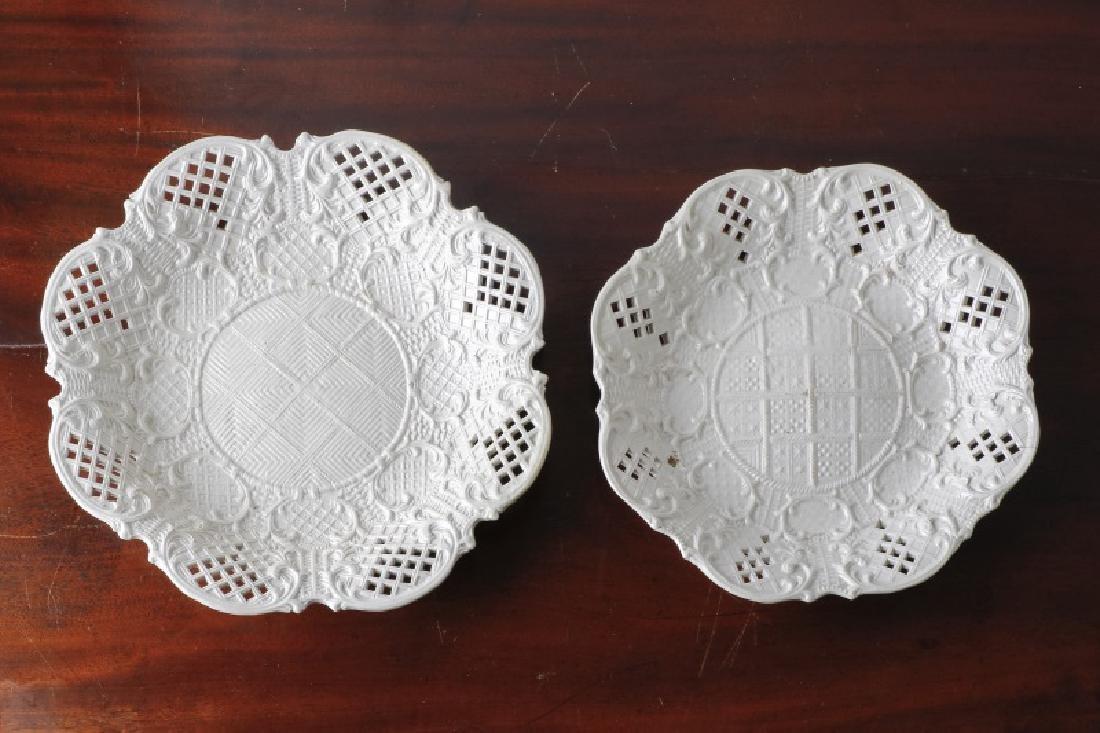 "2 White Salt Glazed Reticulated ""Fancy Plates"""