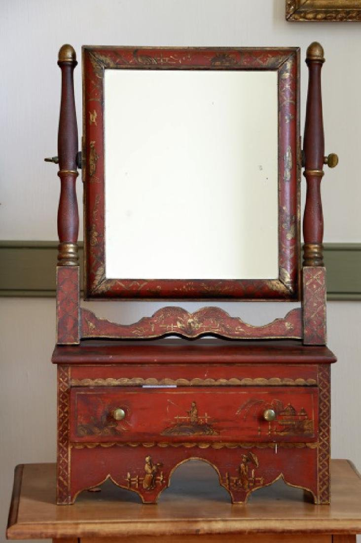 Japanned Wood Chinoiserie Dressing Mirror