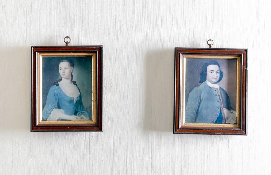Pair, Small English School Portraits, Oil on Board