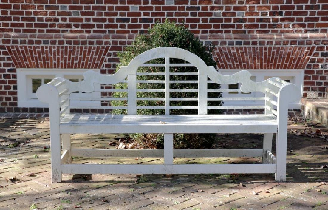 Pair, White Painted Garden Benches w/Arched Back